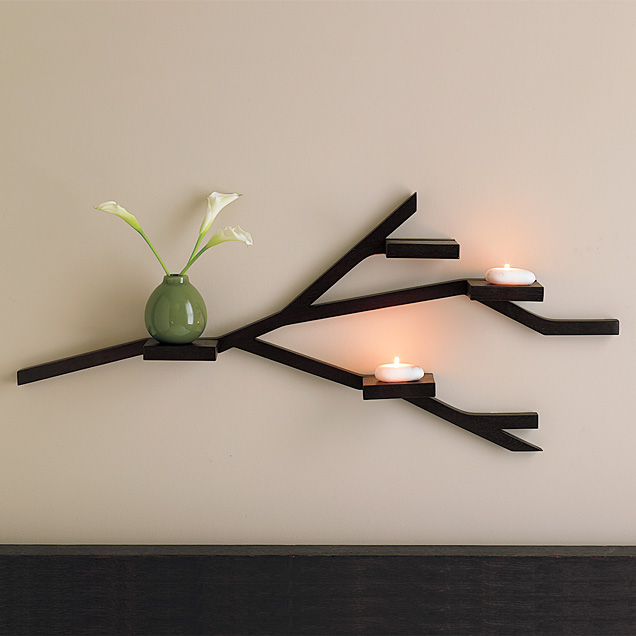 Diy west elm inspired branch shelves creative unravelings - Etagere mural design ...